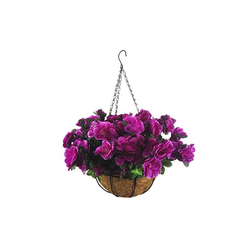 silk flower arrangements mynse artificial flower hanging basket for home market outdoor decoration hanging silk flowers basket with artificial azalea flowers purple (big basket and artificial flowers)