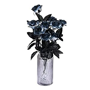Sunm boutique 10 Pack Artificial Flowers Black Roses Bouquets Silk Bouquet Wedding Bridle Bouquet Indoor Outdoor Home Kitchen Office Table Centerpieces Arrangements Decor 12