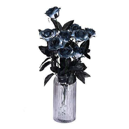 Sunm boutique 10 Pack Artificial Flowers Black Roses Bouquets Silk Bouquet Wedding Bridle Bouquet Indoor Outdoor Home Kitchen Office Table Centerpieces Arrangements -