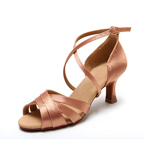 Sandals Salsa Nude 7 Wedding 5cm Ankle Heel Women's Latin Satin Strap Miyoopark KS08 Ballroom SzY4Y