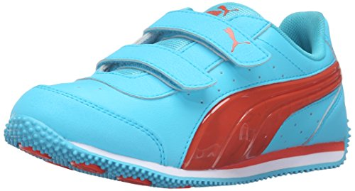 PUMA Kids Speed Light Up V PS Sneaker (Little Kid/Big Kid), Blue Atoll/Mandarine Red, 13 M US Little Kid (Light Blue Puma Sneakers compare prices)