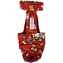 Dog Diaper Overall - Made in USA - Good Doggie on Red Escape-Proof Washable Dog Diaper Overall, S, With Tail Hole for Dog Incontinence, Marking, Housetraining and Females in Heat