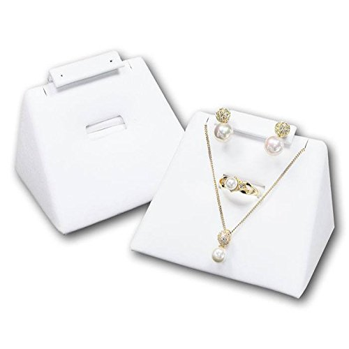 (White Leather Jewelry Earring/Ring/Necklace/Pendant Display Stand ~ Holds 1 of Each)