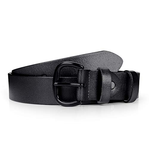 Leather Belts for Women Black Plus Size Fashion Casual Waist Belt for Girls with Solid Buckle by JASGOOD,Black,Fit Pant Size 39-42 - Inch 1.5 Xl Casual Belt