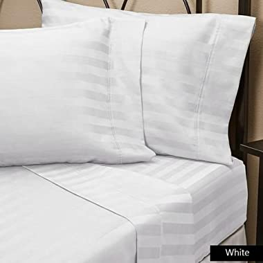 300 Thread Count 100% Egyptian Pima Cotton By Sleepwell linen 1 Flat sheet 4 Pillow case & 1 Fitted Sheet -27  deep Pocket RV full-XL size White Stripe