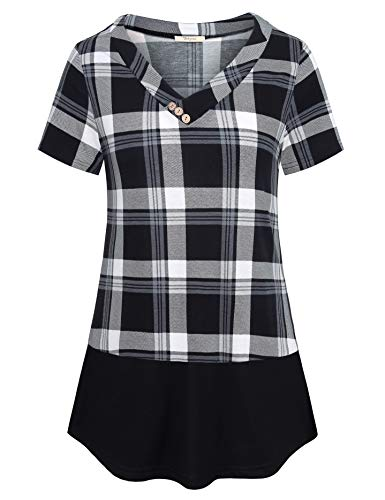 (Bebonnie Work Blouses for Women Fashion 2019, Misses Tops V Neck Splicing Tunic Short Sleeve Geometric Plaid Printed Tee Shirt Career Clothes Grey Black M)