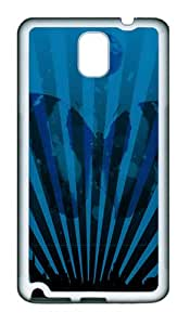 Blue Striped Butterfly TPU Rubber Silicone Case Cover for Samsung Galaxy Note 3 N9000 White