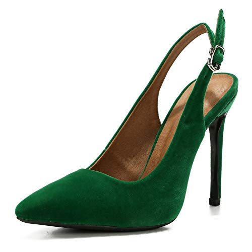 LIURUIJIA Womens Office Basic Slip on Pumps Slingback Stiletto High-Heel Pointy Toe Shoes for Party Dress Velvet Green-41 (255/US8.5)
