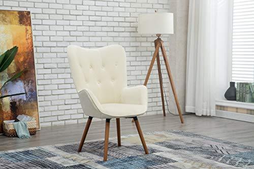 Roundhill Furniture Doarnin Silky Velvet Tufted Button Accent Chair, White