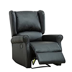 BONZY Leather Recliner Wingback Roll Arm Manual Recliner Chair   Black