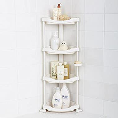 Tenby Living Corner Shower Caddy - 4 Shelf Shower Organizer Caddie with Movable Soap Dish - Heavy-Duty White Plastic Construction - Adjustable Height