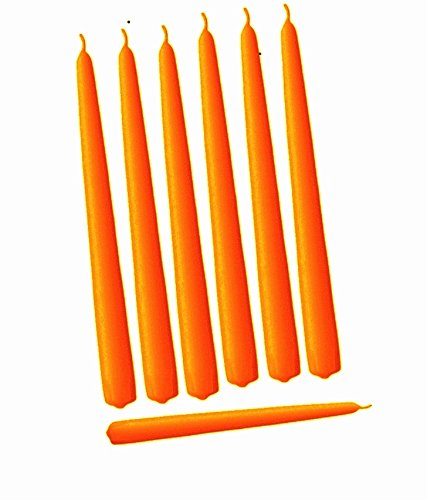 Taper Candles Orange (Elegant Taper Premium Quality Candles Set of 12 Individually Wrapped (10 Inch, Orange))
