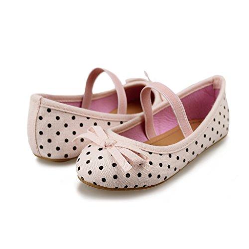 Hawkwell Girls Ballerina Flat Mary Jane Slip on Dress Shoes,Pink Canvas,8 M US -