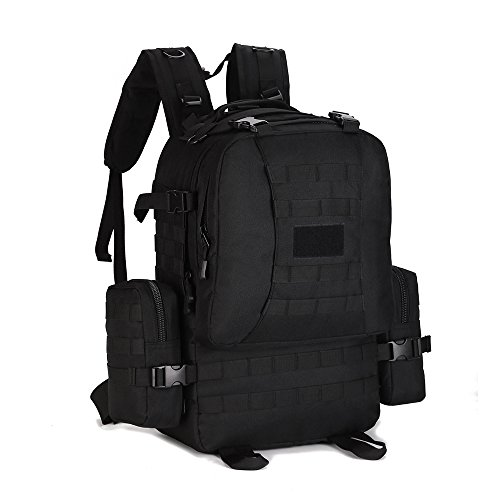 Huntvp 50L Military Tactical Molle Backpack Rucksack Gear Assault Bag Combined with Two Molle Side Pouches Modular Design,Black