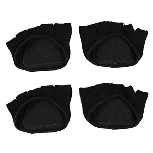 Forefoot Pads, Women's High-heeled Fore Foot Cushion Sole Protectors Toe Caps Covers Pads Toe Separating Socks (Black Color - 2 Pairs) - 1/2 Cushion Ankle Socks