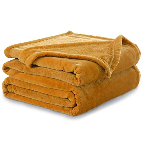 2019 Yellow Fleece - NANPIPER Throw Blanket Ultra Soft Thick Microplush Bed Blanket-All Season Premium Fluffy Microfiber Fleece Throw for Sofa Couch(Twin Size 60
