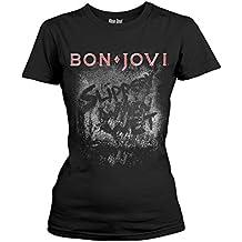 Ladies Jon Bon Jovi Slippery When Wet Rock Official Tee T-Shirt Womens Girls