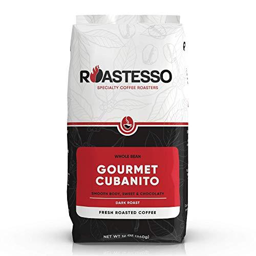 Roastesso Gourmet Cubanito Fresh Roasted Coffee, Whole Beans Coffee, Dark Roast Cuban Latin Espresso, Small Batch Roasted Daily, 100% Arabica Coffee - 12 oz Bag