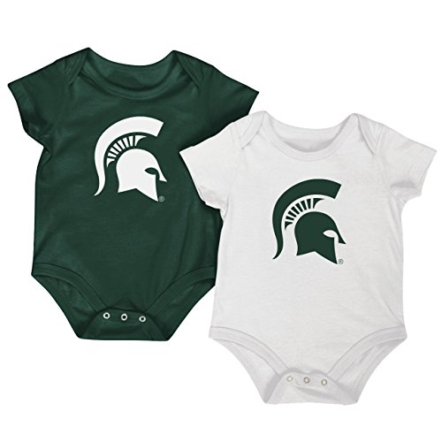 (Colosseum NCAA Short Sleeve Bodysuit 2-Pack-Newborn and Infant Sizes-Michigan State Spartans-3-6)