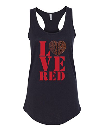 CornBorn Women's Stacked Love RED Basketball Rhinestones Racerback Tank Top - Black - Medium