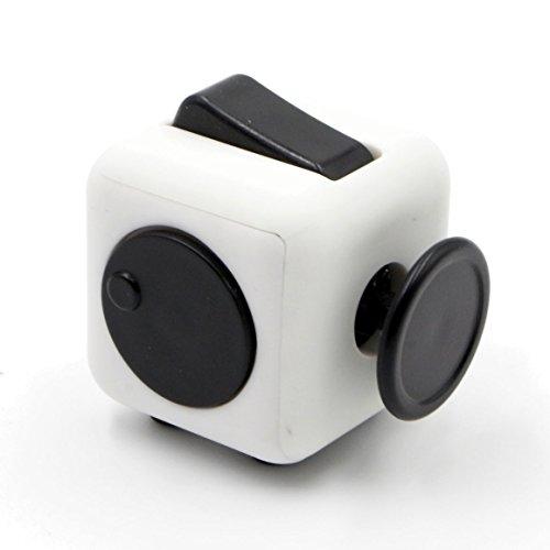 Oliasports Mini Fidget Cube Stress Cube, White/Black -