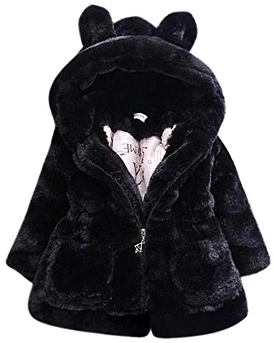 SANGTREE GIRL Little Girls Warm Faux Fur Zipper Parka Hooded Hoodie with Ears Overcoat Outerwear Coats Snowsuit Jackets, Black, Tag 14 = 4-5 Years