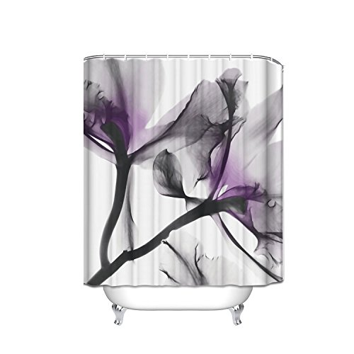Crystal Emotion Home Decorations Contemporary X-Ray Flowers Shower Curtain, Floral, Lavender - Floral Curtain Contemporary