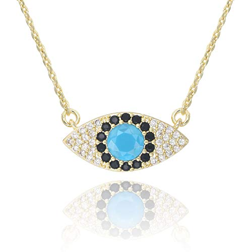 KISSPAT 14 K Gold Natural Gemstone Evil Eye Pendant Necklace Jewelry for Women (Zircon-B) ()