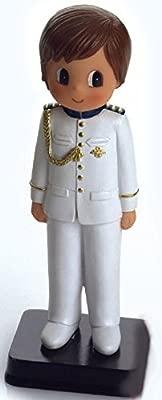 Figura NIÑO para Pastel (Tarta) DE COMUNIÓN Medida 15 CM CAPITÁN Marina Blanco