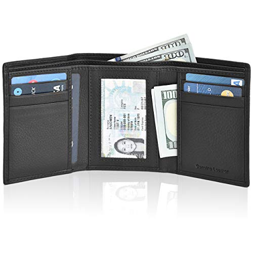 (RFID Leather Trifold Wallets for Men - Handmade Slim Mens Wallet 6 Credit Card ID Window and Gift Box Secure by Estalon (Black Nappa With Dustbag) (3.5x4.4x0.75, Black Nappa Dustbag))