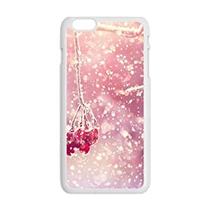 Personalized Clear Phone Case For iPhone 6 Plus,glam snow trees with red fruit beauty winter scene