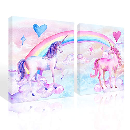 Purple Verbena Art Rainbow Unicorn Pictures Wall Decor Pink and Blue Photo Canvas Print Art Watercolor Painting Artwork Gifts Home Decorations for Kids Girls Bedroom,12×16 inches x 2Pcs Picture Frame