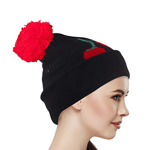 Lux Accessories Black and Red Cherry Winter Pom Pom Beanie - Cherry Black Beanie