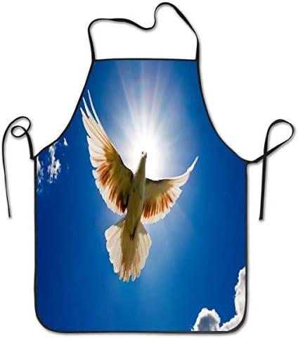 NA Duif en de zon print schort Unisex keuken slabbetschort met verstelbare hals voor koken bakken tuinieren