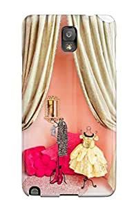 Galaxy Note 3 Case Cover Skin : Premium High Quality Girl8217s Room Dressing Area Or Play Stage With Pink Walls And Gold Curtains Case