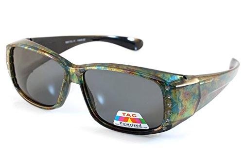 FBL Floral Pattern Bling Rectangular Polarized OTG Sunglasses P009 (Green Yellow - Purpose Of Lenses Polarized