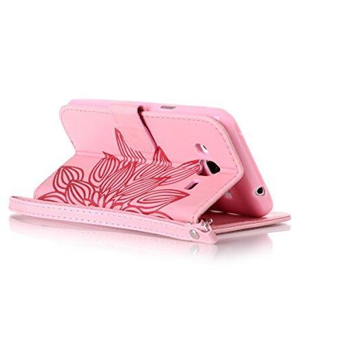 Funda Galaxy J3(2016), Carcasa Plegable para Galaxy J3(2016), Funda de piel Galaxy J3(2016), Lifetrut Sólido Shiny Sparkle libro de estilo funda de cuero con ranura para tarjetas de cierre magnético s E201-Flor en rosa