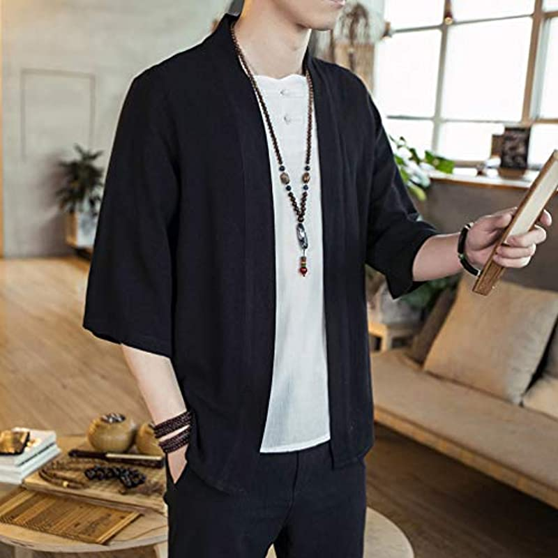 LucaSng Happi Kimono Haori kurtka przejściowa płaszcz Hanfu z długim rękawem kardigan, męska bluza Open Edge Cardigan, retro męska kurtka rekreacyjna: Odzież