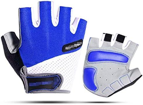 男性のスポーツ自転車の手袋のためにマウンテンバイクロードバイクジェルサイクリングハーフフィンガーグローブMTB (Color : Blue, Size : XL)