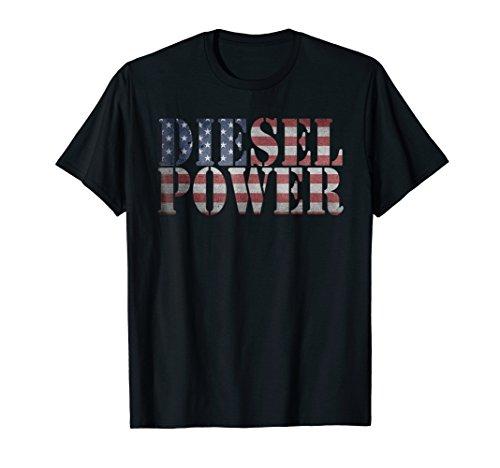 Apparel Womens Diesel (Diesel Power American Flag T-Shirt - Truck Mechanic Gift)