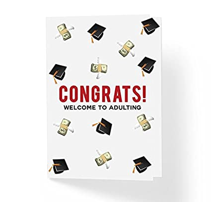 Amazon funny congratulations greeting card welcome to funny congratulations greeting card welcome to adulting 5quot x 7quot witty graduation m4hsunfo