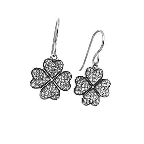 Four leaf clover rhinestone dangle titanium ()