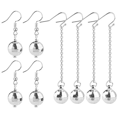 Quacoww 4 Pairs Disco Ball Earrings Gold Silver Ball Earrings for Retro Party Short and Long