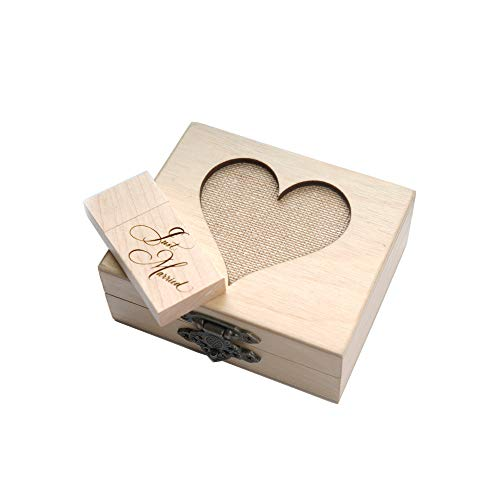 1-32GB USB 3.0 Wooden Birch Drive - Just Married Engraved Dr