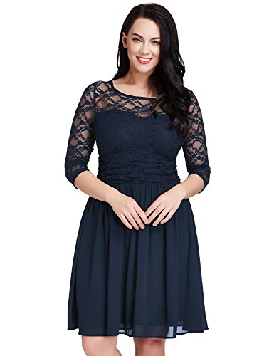 LookbookStore Womens Plus Size Navy Lace Top Chiffon Skirt A-line Skater Formal Dress 16W