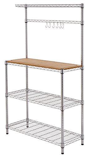 Finnhomy 14x36x61 4-Tiers Adjustable Kitchen Bakers Rack Kitchen Cart Microwave Stand with Chrome Shelves and Thicken Bamboo Cutting Board by Finnhomy (Image #1)