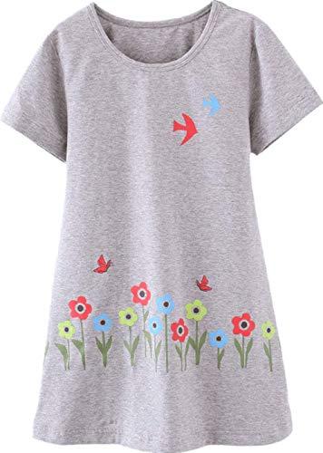 Girls Cotton Nightgown Cute Floral Princess Pajamas Night Dress Grey Bird 160 8-9Y