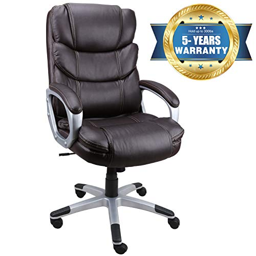 Becozier Executive Office Chair with Brown Leather, Swivel Desk Chair for Home and Office, Ergonomic Computer Chair with Adjustable seat ()