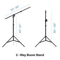 LimoStudio Heavy Duty Umbrella Softbox Flash Light Boom Light Stand Lighting Kit for Photo and Video, AGG675