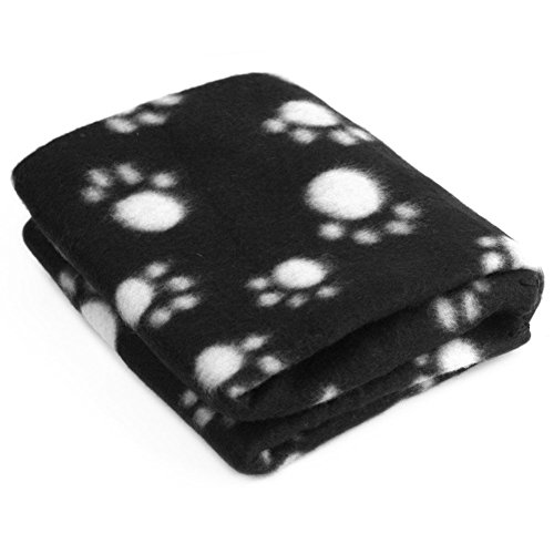 HIGHROCK Pet Dog Cat Puppy Kitten Soft Blanket Doggy Warm Bed Mat Paw Print Cushion (Black)